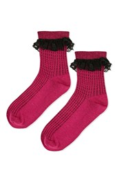 Topshop Lace Trim Ankle Socks Fuchsia