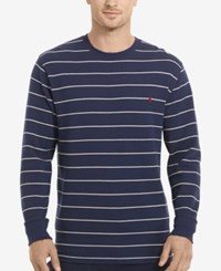 Polo Ralph Lauren Men's Stripe Long Sleeve Crew Neck Waffle Thermal Top Cruise Navy Stripe