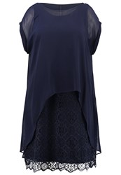 Live Unlimited London Summer Dress Navy Dark Blue