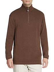 Saks Fifth Avenue Quarter Zip Cotton Sweater Brown Olive