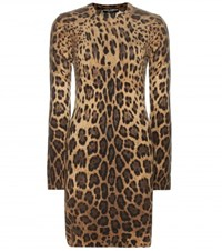 Dolce And Gabbana Printed Cashmere Sweater Dress Beige