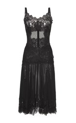 Dolce And Gabbana Chantilly Lace Trimmed Charmeuse Slip Dress Black