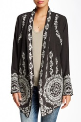 Biya Embroidered Silk Blend Cardigan Gray