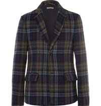 Bottega Veneta Blue Checked Wool Blazer Navy