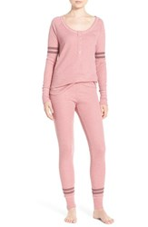Make Model Women's Stripe Thermal Pajamas Purple Mesa