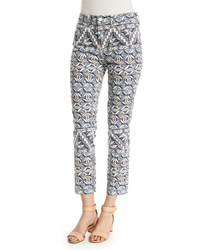 Tory Burch Acoma Print Cropped Skinny Jeans Riviera Blue Women's