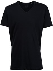 Atm Anthony Thomas Melillo Classic Jersey V Neck T Shirt Black