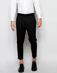 Asos Smart Cropped Tapered Leg Trousers In Black Black
