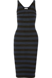 Tomas Maier Striped Jersey Dress Black