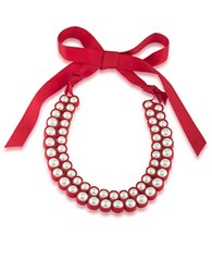 1St And Gorgeous Pearl Ribbon Bib Necklace White Pearl And Red