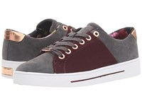 Ted Baker Ophily Burgundy Dark Grey Wool Suede Women's Shoes Red