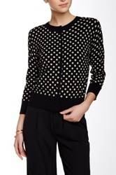 Cable And Gauge Dot Cardigan Black