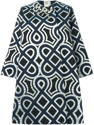 Antonio Marras Geometric Print Coat Blue