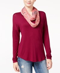 Belle Du Jour Juniors' V Neck T Shirt With Printed Scarf Purple Potion