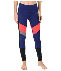 Adidas Performer Mid Rise Long Tights Unity Ink Black Shock Red Matte Silver Women's Workout Blue