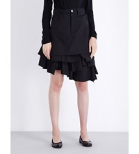 Junya Watanabe Ruffled Wool Blend Skirt Black