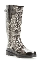 Women's Sakroots 'Rhythm' Waterproof Rain Boot Black White Spirit Desert