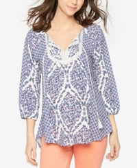 A Pea In The Pod Maternity Printed Split Neck Blouse