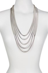 Vince Camuto Flat Snake Chain Multi Row Necklace Metallic