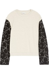 3.1 Phillip Lim Embroidered Organza Trimmed French Terry Top Cream