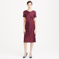 J.Crew Collection Chevron Stripe Silk Pleated Dress