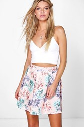 Boohoo Pastel Floral Box Pleat Skater Skirt Multi