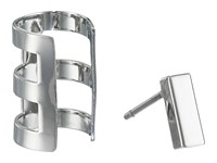 French Connection Rectangle Bar Single Earrings Cuff Set Silver Earring