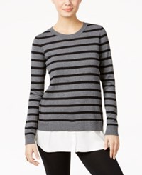 G.H. Bass And Co. Striped Layered Look Top Heather Steel Grey Combo