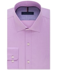 Tommy Hilfiger Men's Slim Fit Non Iron Soft Wash Solid Dress Shirt Frosted Lilac