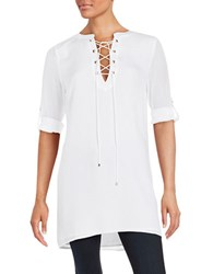 Highline Collective Lace Up Tunic Top White
