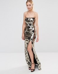 City Goddess Bandeau Star Print Maxi Dress With Side Split Gold