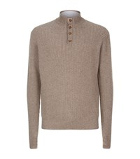 Peter Millar Half Button Wool And Cashmere Jumper Male Brown