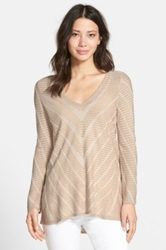 Nic Zoe 'Aurora' Textured Silk Blend V Neck Sweater Beige