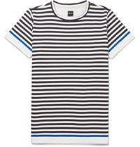 Albam Slim Fit Striped Cotton Jersey T Shirt Blue