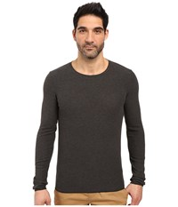 Boss Orange Terris 1 Long Sleeve Heather Waffle T Shirt Grey Men's T Shirt Gray