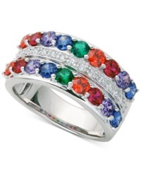 Giani Bernini Multi Color Cubic Zirconia Double Row Band Ring In Sterling Silver Only At Macy's