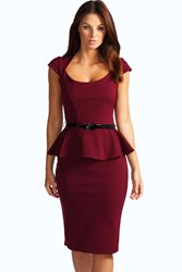 Boohoo Peplum Belted Midi Dress Berry