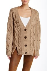 Lulu Chunky Cable Knit Cardigan Beige