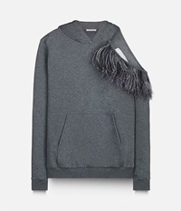 Christopher Kane Feather Insert Hoodie Grey