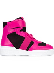 Versace Medusa Head Hi Top Sneakers Pink And Purple
