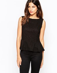 Pussycat London Peplum Top With Sequin Detail Black