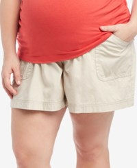 Motherhood Maternity Plus Size Secret Fit Belly Cargo Shorts Oat