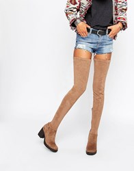 Glamorous Thigh High Taupe Chunky Heeled Over The Knee Boots Taupe Microfibre Brown