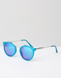 Jeepers Peepers Round Blue Sunglasses With Blue Mirror Lens Frosted Blue Revo