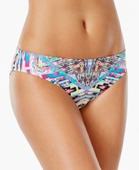 Kenneth Cole Reaction Tribal Print Hipster Bikini Bottom Women's Swimsuit Blue Hawaii