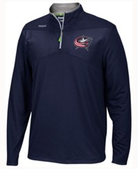 Reebok Men's Columbus Blue Jackets Center Ice Quarter Zip Pullover Navy