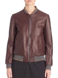 Brunello Cucinelli Reversible Leather Bomber Jacket Henna Charcoal
