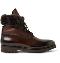 Santoni Shearling Lined Panelled Leather Boots Dark Brown