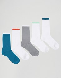Asos Sports Style Socks With Contrast Top 5 Pack Multi