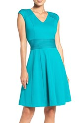 Eliza J Women's Ponte Fit And Flare Dress Teal